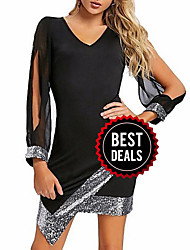 cheap -Women's Elegant Sheath Dress - Color Block Sequins Black Wine Red S M L XL