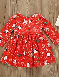 cheap -Kids Girls' Animal Christmas Dress Wine