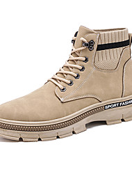 cheap -Men's Combat Boots Cotton Fall & Winter British Boots Walking Shoes Warm Knee High Boots Black / Almond / Gray