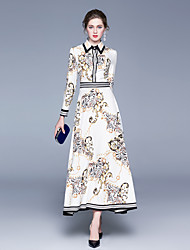 cheap -Women's Maxi White Dress Elegant Vintage Anniversary Festival Shirt Leopard Shirt Collar Pleated Print M L