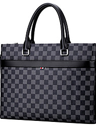 cheap -Men's Zipper Cowhide Briefcase Lattice Black Grey