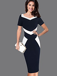 cheap -Women's Plus Size Elegant Slim Sheath Dress - Color Block V Neck Black S M L XL