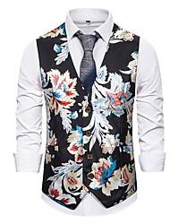 cheap -Men's Vest, Floral V Neck Polyester White / Black / Navy Blue