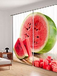cheap -Watermelon Digital Printing 3D Curtain Shading Curtain High Precision Black Silk Fabric High Quality Curtain