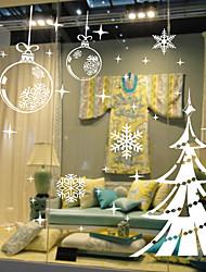cheap -Christmas Tree Snowflake Window Film & Christmas Stickers Decoration Patterned / Christmas Geometric / Character PVC(PolyVinyl Chloride) Window Sticker / Door Sticker