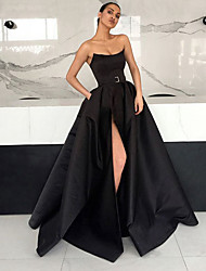 cheap -A-Line Strapless Floor Length Satin Furcal Prom / Formal Evening Dress with Sash / Ribbon / Split Front 2020