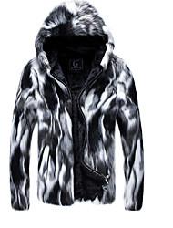 cheap -Men's Daily Plus Size Regular Fur Coat, Geometric Hooded Long Sleeve Faux Fur Gray