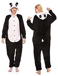 cheap -Adults' Kigurumi Pajamas Panda Animal Onesie Pajamas Polar Fleece Black / White Cosplay For Men and Women Animal Sleepwear Cartoon Festival / Holiday Costumes