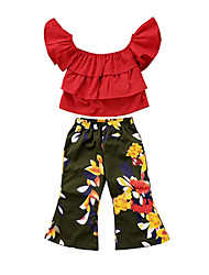 cheap -Baby Girls' Casual / Active Floral / Solid Colored Pleated / Print Sleeveless Long Clothing Set Red