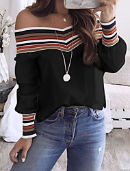 cheap -Women's Striped Long Sleeve Pullover Sweater Jumper, Off Shoulder Black / White S / M / L