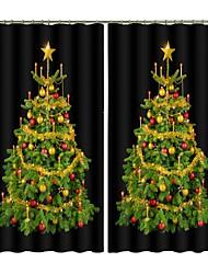 cheap -New Christmas Curtain Symmetrical Black Background Christmas Tree Digital Printing 3D Curtain Festival High Quality Blackout Curtain