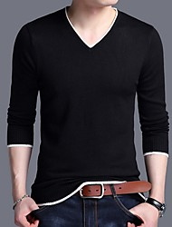 cheap -Men's Solid Colored Long Sleeve Pullover Sweater Jumper, V Neck Black / Wine / White XXL / XXXL