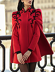 cheap -Women's Daily Street chic Fall & Winter Regular Coat, Geometric Stand Long Sleeve Polyester Red