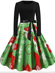 cheap -Women's A Line Dress - Long Sleeve Geometric Print Christmas Party Green S M L XL XXL