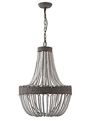 cheap -1-Light Candle-style Vintage Wooden Chandelier Loft Lamp for Dining Cafes Hallyway Aisle Light 1 pc E26/E27 Bulb Not Included