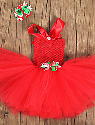 cheap -Santa Claus Dress Girls' Kid's Costume Party Christmas Christmas 70% cotton 30%  nylon + spandex Dress