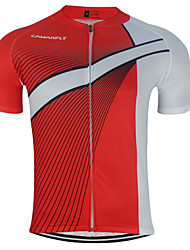 cheap -CAWANFLY Men's Short Sleeve Cycling Jersey Red and White Geometic Bike Jersey Top Mountain Bike MTB Road Bike Cycling Breathable Quick Dry Back Pocket Sports Clothing Apparel / Advanced / Expert