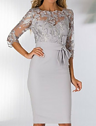 cheap -Sheath / Column Bateau Neck Knee Length Polyester 3/4 Length Sleeve See Through / Elegant Mother of the Bride Dress with Appliques / Bow(s) / Split Front 2020