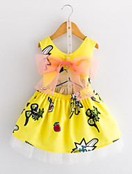 cheap -Kids Toddler Girls' Sweet Cute Geometric Solid Colored Lace Bow Sleeveless Knee-length Dress Yellow