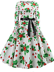 cheap -Women's Swing Dress - Long Sleeve Floral Print Elegant Christmas Party White S M L XL XXL