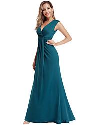 cheap -Women's Maxi Blue Dress Elegant Wedding Event / Party A Line Solid Colored V Neck S M / Cotton