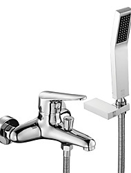cheap -Shower Faucet / Tub Faucets - Contemporary Chrome Wall Mounted Ceramic Valve Bath Shower Mixer Taps