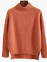 cheap -Women's Solid Colored Pullover Long Sleeve Sweater Cardigans Turtleneck White Black Yellow