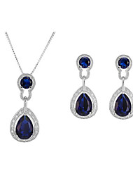 cheap -Women's Synthetic Sapphire Bridal Jewelry Sets Geometrical Pear Stylish Gold Plated Earrings Jewelry Blue For Party Gift 1 set