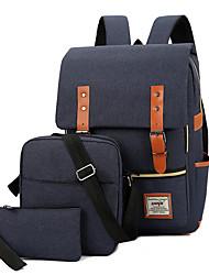 cheap -Unisex Zipper Canvas Bag Set Solid Color 3 Pcs Purse Set Black / Blue / Red