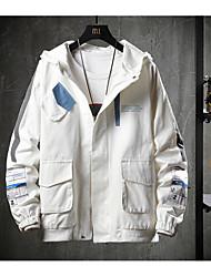 abordables -Homme Quotidien / Sortie Printemps / Automne hiver Normal Veste, Bloc de Couleur Col roulé Manches Longues Polyester Noir / Blanche