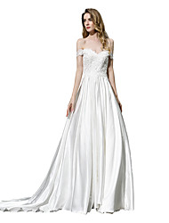 cheap -A-Line Off Shoulder Court Train Chiffon Over Satin Cap Sleeve Made-To-Measure Wedding Dresses with Beading / Appliques 2020