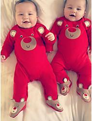 preiswerte -Baby Jungen Grundlegend Druck / Solide Druck Langarm Einzelteil Rote