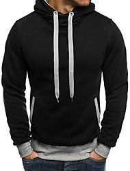cheap -Men's Work / Casual Hoodie - Solid Colored Black US34 / UK34 / EU42