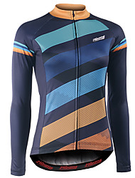 cheap -21Grams Women's Long Sleeve Cycling Jersey Winter Fleece 100% Polyester Blue+Orange Bike Jersey Top Bottoms Mountain Bike MTB Road Bike Cycling UV Resistant Breathable Quick Dry Sports Clothing