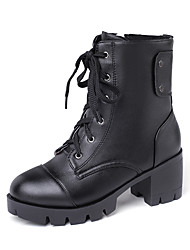 cheap -Women's Boots Chunky Heel Round Toe PU Mid-Calf Boots Casual / Preppy Fall & Winter Black / Beige