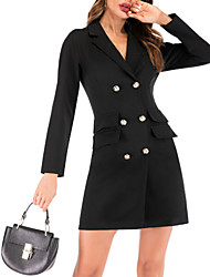 cheap -Women's Work Sexy Mini Slim Sheath Dress - Solid Colored Deep V Black White S M L XL