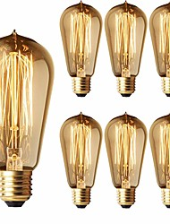 cheap -6-Pack 40W Edison Light Bulbs ST58 Filament Vintage Bulb Antique Style Incandescent Light Bulbs - E26/E27 Base - Clear Glass - Tear Drop Top Lamp for Chandeliers Wall Sconces Pendant Lighting