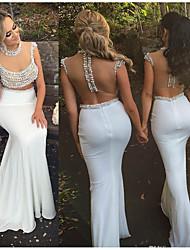 cheap -Mermaid / Trumpet Jewel Neck Sweep / Brush Train Chiffon / Tulle Sparkle & Shine / Elegant Formal Evening Dress with Beading 2020