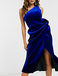 cheap -Sheath / Column One Shoulder Tea Length Velvet Dress with Split Front / Ruched by LAN TING Express