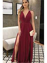 cheap -A-Line Plunging Neck Floor Length Chiffon Bridesmaid Dress with Pleats