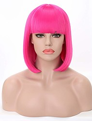 cheap -Synthetic Wig Straight Straight Bob Wig Pink Medium Length Black Light Blue Dark Brown Creamy-white Pink+Red Synthetic Hair Women's Pink