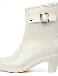 Недорогие -Жен. Ботинки Резиновые сапоги На толстом каблуке Круглый носок ПВХ Ботинки Наступила зима Черный / Белый / Бежевый