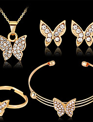cheap -Women's Stud Earrings Pendant Necklace Bracelet Cut Out Butterfly Unique Design Fashion Gold Plated Earrings Jewelry Gold For Wedding Party Holiday Festival 1 set / Bridal Jewelry Sets / Open Ring