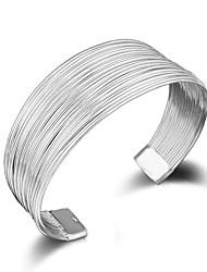 abordables -Vente en gros cadeaux de fête pour femmes de mode personnalisé multi ligne argent 925 bracelet plaqué argent taille réglable