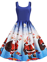 cheap -Women's Santa Claus Swing Dress - Sleeveless Snowflake Print Strap Basic Vintage Christmas Party Festival Blue S M L XL XXL