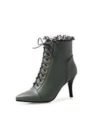 cheap -Women's Boots Stiletto Heel Pointed Toe PU Sweet Fall & Winter Black / White / Green