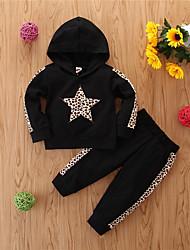 cheap -Baby Girls' Basic Print Long Sleeve Regular Regular Clothing Set Black