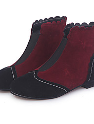 cheap -Women's Boots Block Heel Round Toe Suede Booties / Ankle Boots Vintage / Casual Spring &  Fall / Fall & Winter Brown / Red / Blue / Color Block