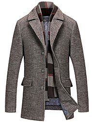 cheap -Men's Daily Fall & Winter Long Coat, Solid Colored Notch Lapel Long Sleeve Polyester Brown / Gray