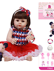 cheap -18 inch Reborn Doll Baby Girl Kids / Teen with Clothes and Accessories for Girls' Birthday and Festival Gifts / Full Body Silicone / Full Body Silicone